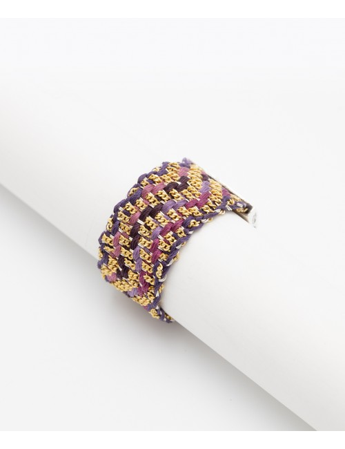ZIG ZAG Ring in Sterling Silver 18Kt. Gold plated. Fabric: Silk Shades of Purple