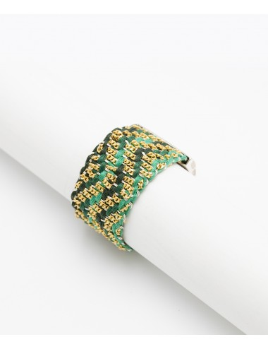 ZIG ZAG Ring in Sterling Silver 18Kt. Gold plated. Fabric: Silk Shades of Green