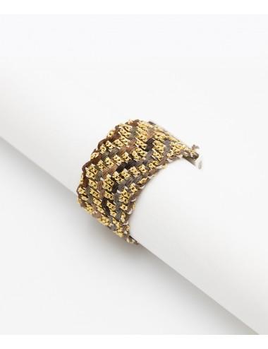 Anello ZIG ZAG in Argento 925 bagno oro Giallo 18Kt. Tessuto: Seta Toni di Marrone