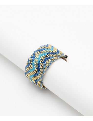 ZIG ZAG Ring in Sterling Silver 18Kt. Gold plated. Fabric: Silk Shades of Blue