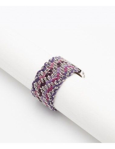 ZIG ZAG Ring in Sterling Silver rhodium, Fabric: Silk Shades of Purple