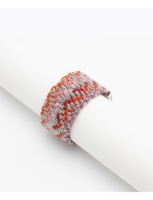 ZIG ZAG Ring in Sterling Silver Rhodium plated. Fabric: Silk Shades of Red Grey Pink