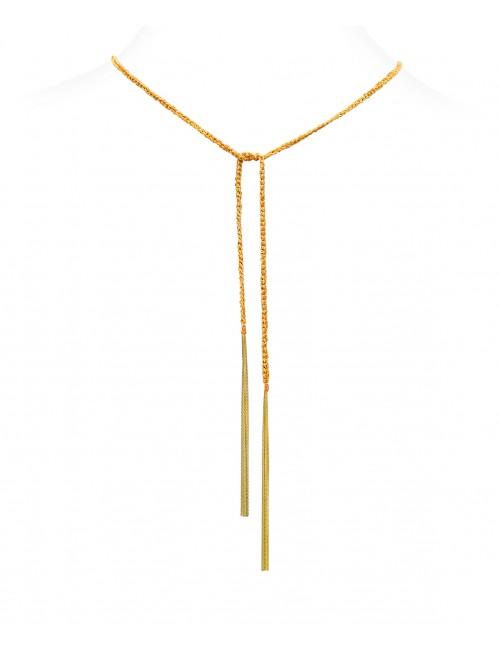 Collana TWIST in Argento 925 bagno oro Giallo 18Kt. Tessuto: Seta Arancio