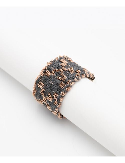 Anello ROMBO in Argento 925 bagno Oro rosa 14 kt. Tessuto: Seta Grigia