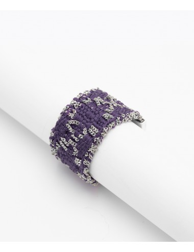 RHOMBUS Ring in Sterling Silver Rhodium plated. Fabric: Purple