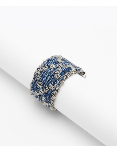 RHOMBUS Ring in Sterling Silver Rhodium plated. Fabric: Jeans