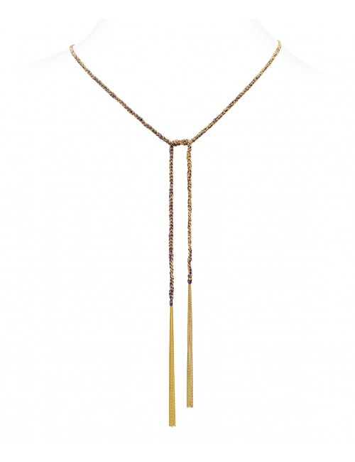 Collana TWIST in Argento 925 bagno oro Giallo 18Kt. Tessuto: Seta Viola