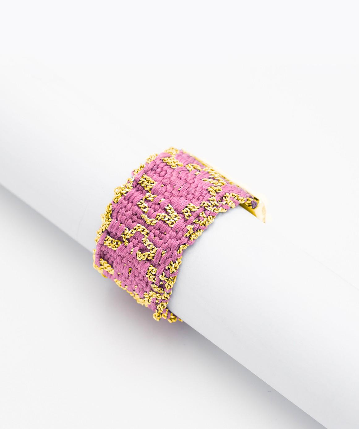 Anello ROMBO in Argento 925 bagno oro Giallo 18Kt. Tessuto: Seta Rosa