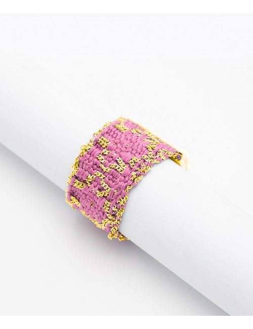RHOMBUS Ring in Sterling Silver 18Kt. Yellow gold plated. Fabric: Pink