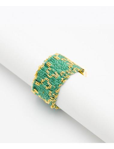 Anello ROMBO in Argento 925 bagno oro Giallo 18Kt. Tessuto: Seta Smeraldo