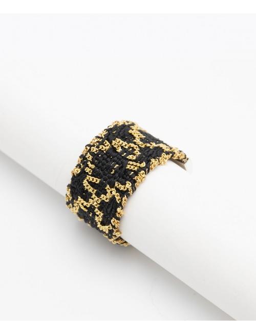 Anello ROMBO in Argento 925 bagno oro Giallo 18Kt. Tessuto: Seta Nera