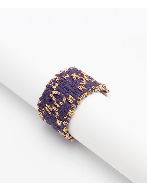 Anello ROMBO in Argento 925 bagno oro Giallo 18Kt. Tessuto: Seta Viola