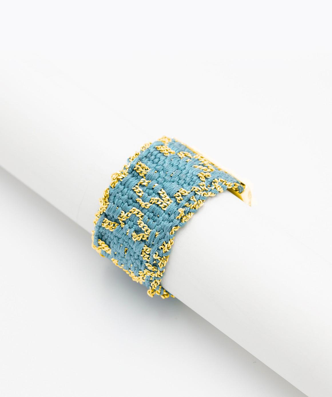 Anello ROMBO in Argento 925 bagno oro Giallo 18Kt. Tessuto: Seta Turchese