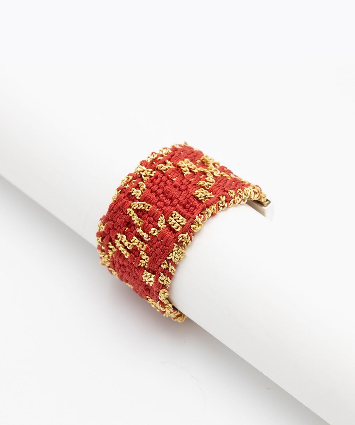 Anello ROMBO in Argento 925 bagno oro Giallo 18Kt. Tessuto: Seta Rossa