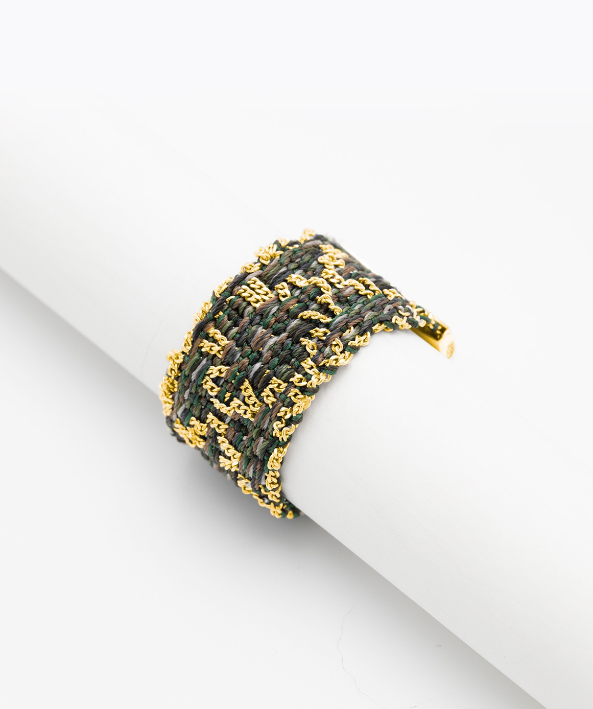 RHOMBUS Ring in Sterling Silver 18Kt. Yellow gold plated. Fabric: Military