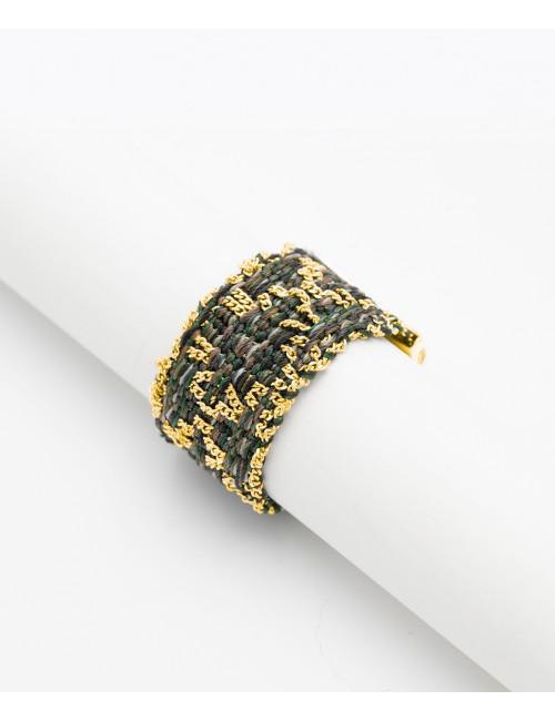 Anello ROMBO in Argento 925 bagno oro Giallo 18Kt. Tessuto: Seta Militare