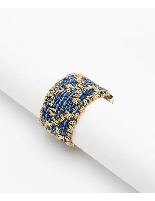 Anello ROMBO in Argento 925 bagno oro Giallo 18Kt. Tessuto: Seta Jeans