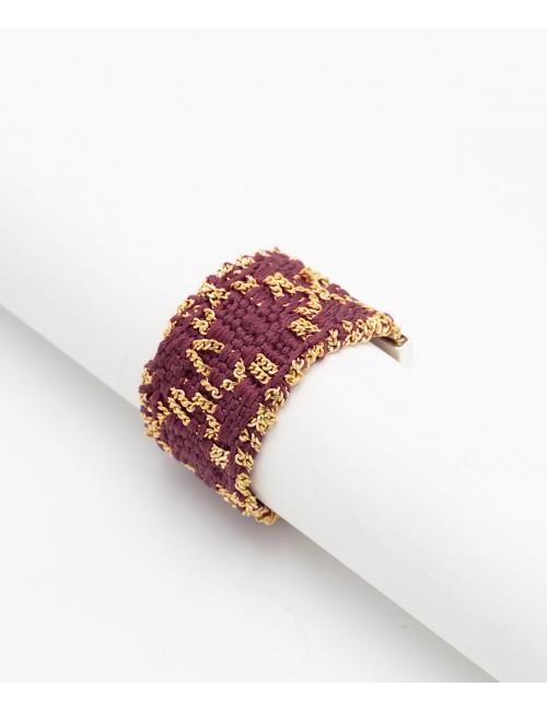 Anello ROMBO in Argento 925 bagno oro Giallo 18Kt. Tessuto: Seta Bordeaux