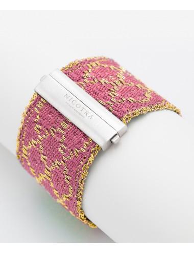 Bracciale ROMBO in Argento 925 bagno oro Giallo 18Kt. Tessuto: Seta Rosa