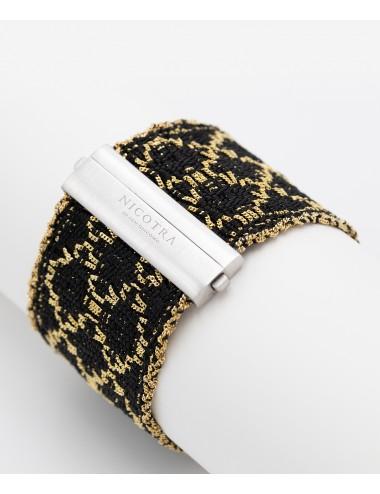 Bracciale ROMBO in Argento 925 bagno oro Giallo 18Kt. Tessuto: Seta Nera