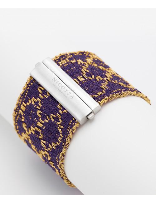 Bracciale ROMBO in Argento 925 bagno oro Giallo 18Kt. Tessuto: Seta Viola