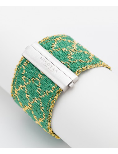 RHOMBUS Bracelet in Sterling Silver 18Kt. Gold plated. Fabric: Silk Emerald