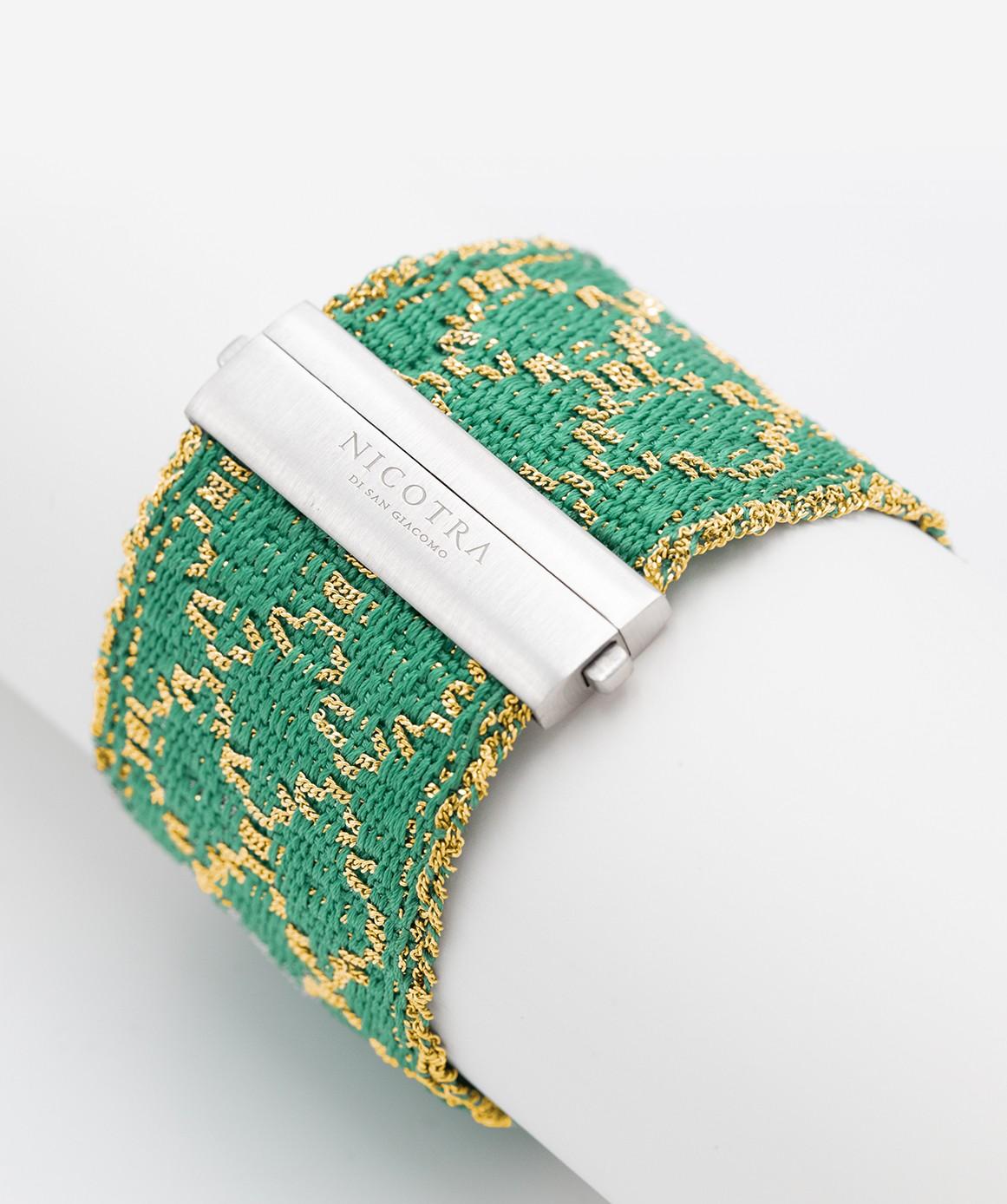 Bracciale ROMBO in Argento 925 bagno oro Giallo 18Kt. Tessuto: Seta Smeraldo