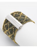 RHOMBUS Bracelet in Sterling Silver 18Kt. Gold plated. Fabric: Silk Military