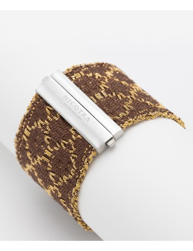 Bracciale ROMBO in Argento 925 bagno oro Giallo 18Kt. Tessuto: Seta Marrone