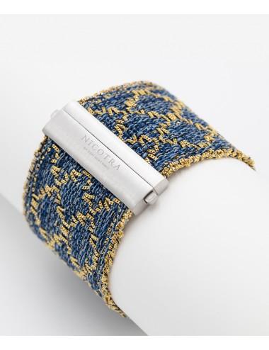 Bracciale ROMBO in Argento 925 bagno oro Giallo 18Kt. Tessuto: Seta Jeans