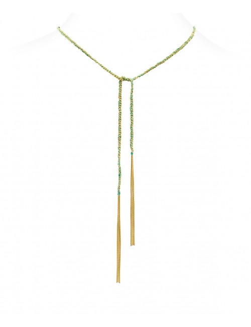 TWIST Necklaces in Sterling Silver 18Kt. Yellow gold plated. Fabric: Emerald