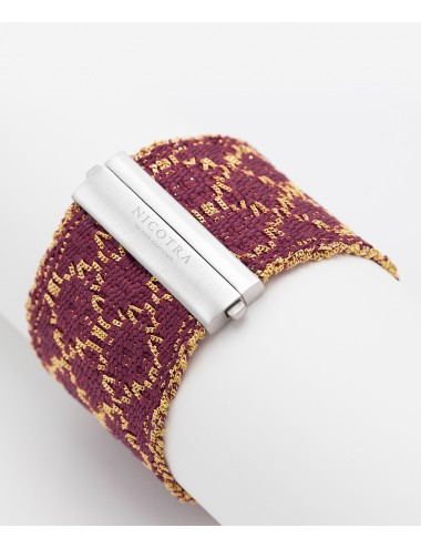 RHOMBUS Bracelet in Sterling Silver 18Kt. Gold plated. Fabric: Silk Bordeaux