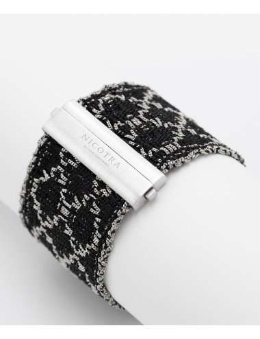 RHOMBUS Bracelet in Sterling Silver Rhodium plated. Fabric: Silk Black