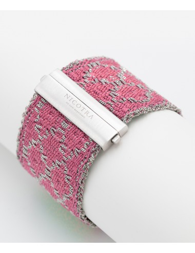 RHOMBUS Bracelet in Sterling Silver Rhodium plated. Fabric: Silk Pink