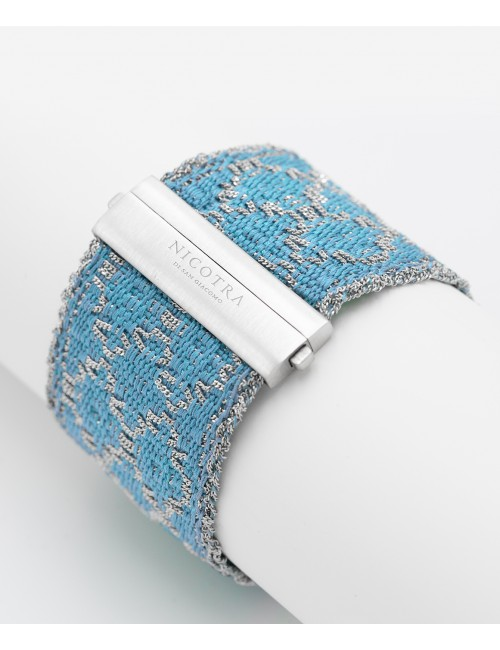 RHOMBUS Bracelet in Sterling Silver Rhodium plated. Fabric: Silk Turquoise