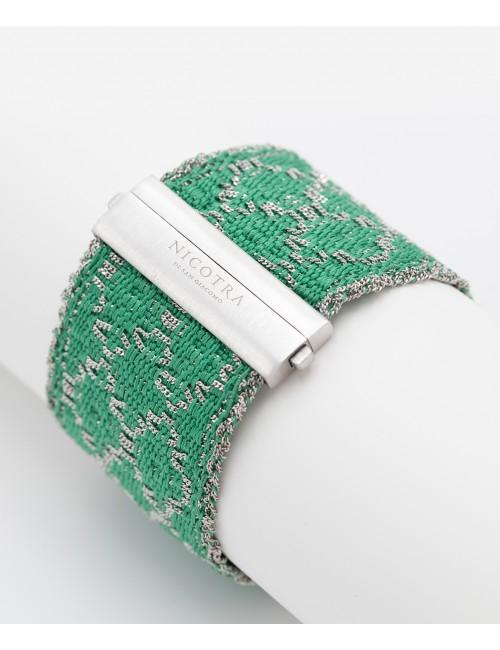 RHOMBUS Bracelet in Sterling Silver Rhodium plated. Fabric: Silk Emerald