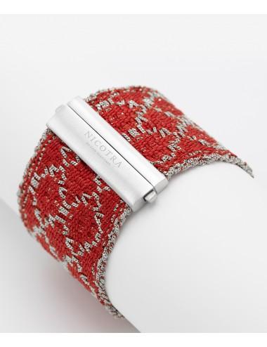 Bracciale ROMBO in Argento 925 Rodiato. Tessuto: Seta Rossa
