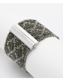 RHOMBUS Bracelet in Sterling Silver Rhodium plated. Fabric: Silk Military