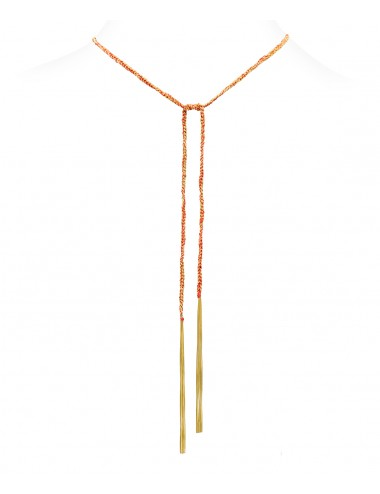 Collana TWIST in Argento 925 bagno oro Giallo 18Kt. Tessuto: Seta Rossa