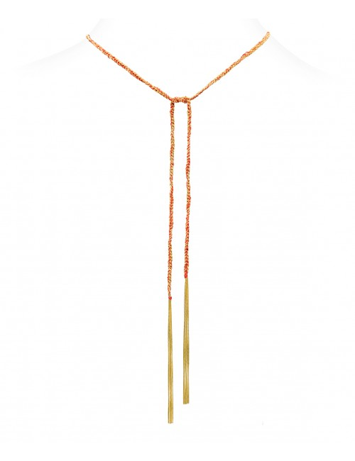 TWIST Necklaces in Sterling Silver 18Kt. Yellow gold plated. Fabric: Red