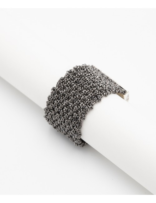 MESH Ring in Sterling Silver Ruthenium plated