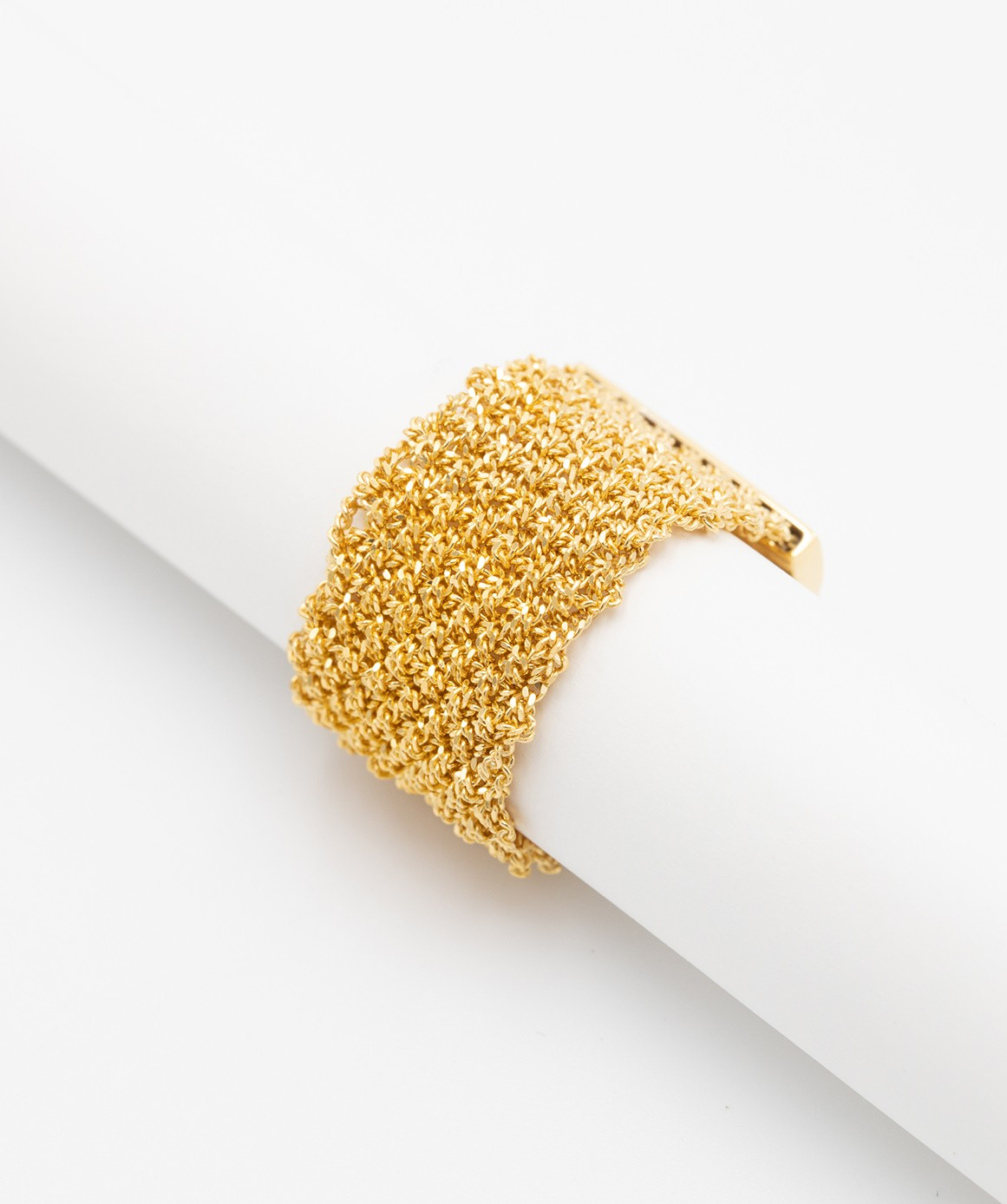 MESH Ring in Sterling Silver 18Kt. Yellow gold plated