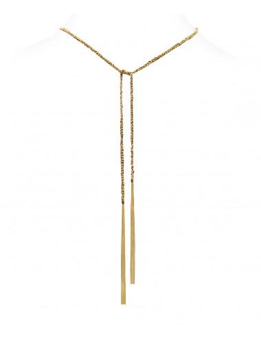 Collana TWIST in Argento 925 bagno oro Giallo 18Kt. Tessuto: Seta Marrone