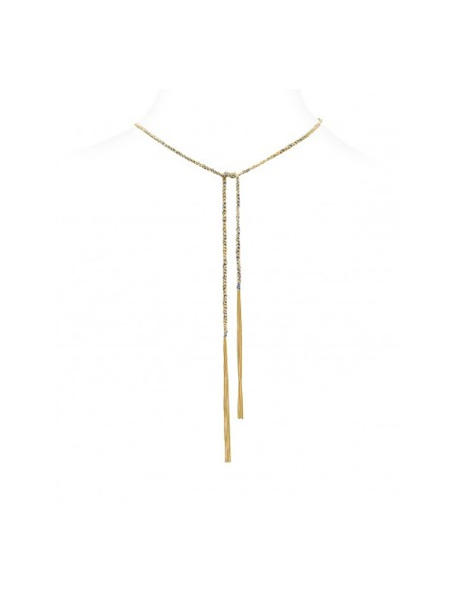 TWIST Necklaces in Sterling Silver 18Kt. Yellow gold plated. Fabric: Jeans