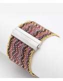 ZIG ZAG Bracelet in Sterling Silver 18Kt. Gold plated. Fabric: Silk Shades of Purple
