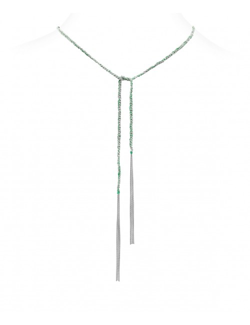 TWIST Necklaces in Sterling Silver Rhodium plated. Fabric: Emerald