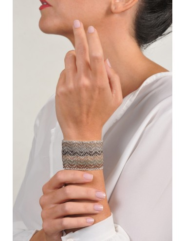 ZIG ZAG Bracelet in Sterling Silver Rhodium plated. Fabric: Silk Shades of Brown
