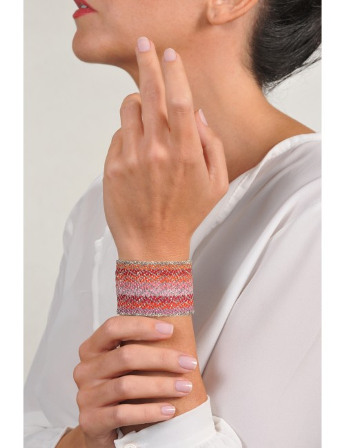 ZIG ZAG Bracelet in Sterling Silver Rhodium plated. Fabric: Silk Shades of Red