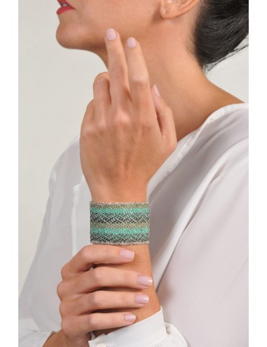 ZIG ZAG Bracelet in Sterling Silver Rhodium plated. Fabric: Silk Shades of Green