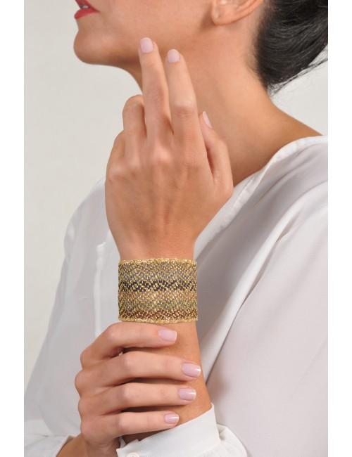 Bracciale ZIG ZAG in Argento 925 bagno oro Giallo 18Kt. Tessuto: Seta Toni di Marrone